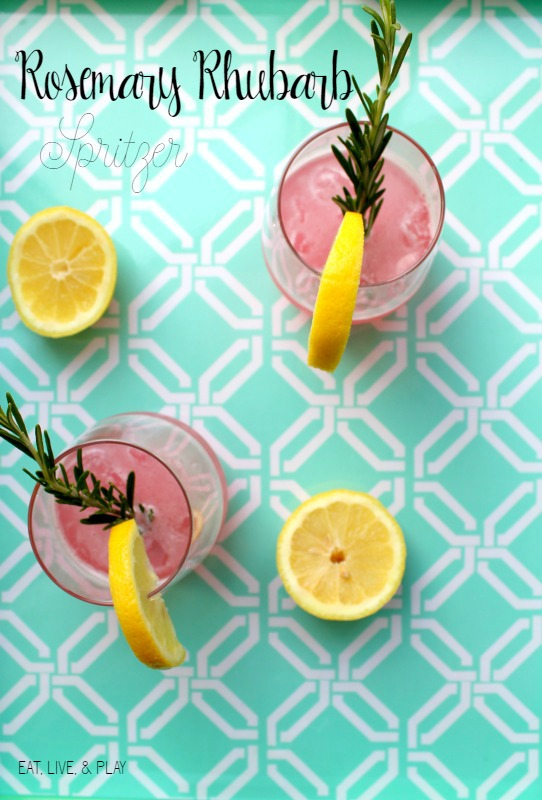 easy rosemary rhubarb cocktail