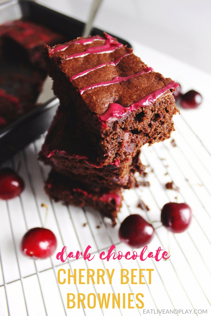 These easy and healthy Dark Chocolate Cherry Brownies are made with rich dark chocolate, fresh juicy cherries and beetroot for sweetness and extra moisture.