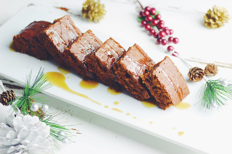 Easy Gingerbread Cake with warm caramel glaze