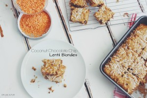Coconut Chocolate Chip Lentil Blondies