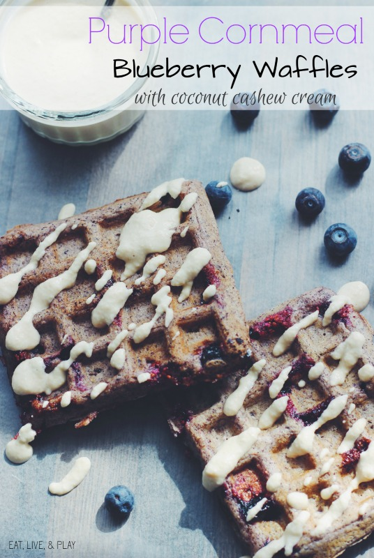 Purple Cornmeal Blueberry Waffles