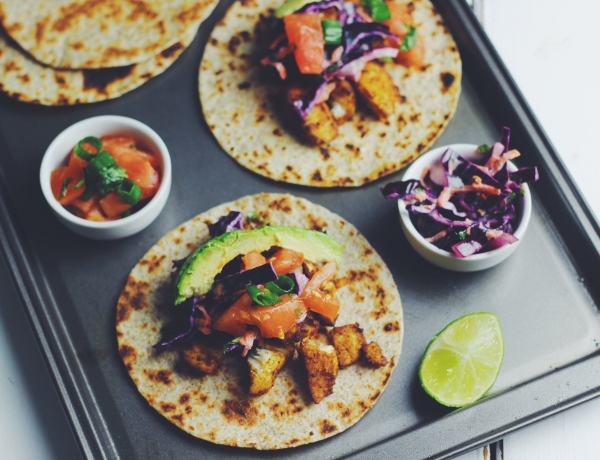 Cilantro Lime Fish Tacos with Lime Cabbage Slaw